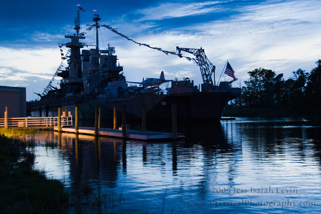 battleship at nightfall